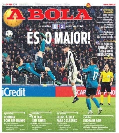 O jornal português A Bola classificou Critiano Ronaldo como o 'maior de todos'