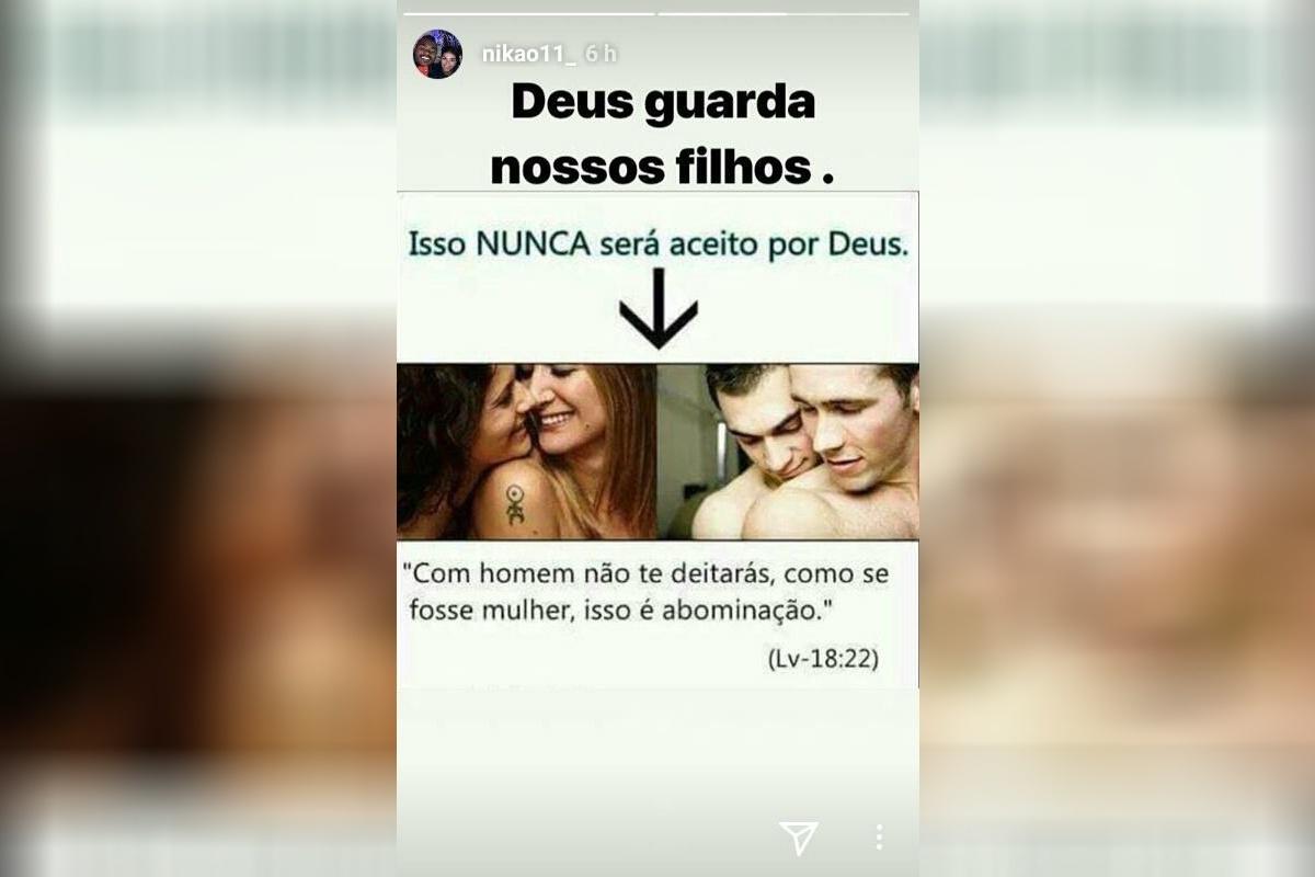Nikão publica imagem contra união homoafetiva nas redes sociais