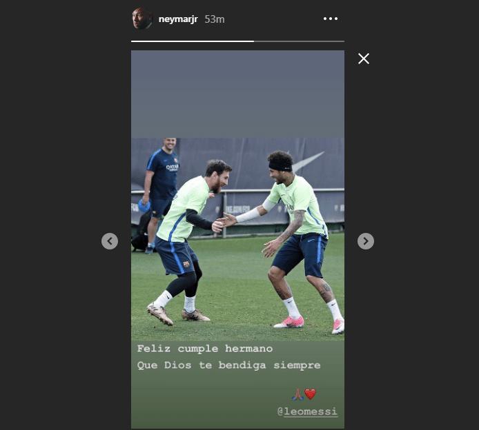 Neymar parabeniza Messi