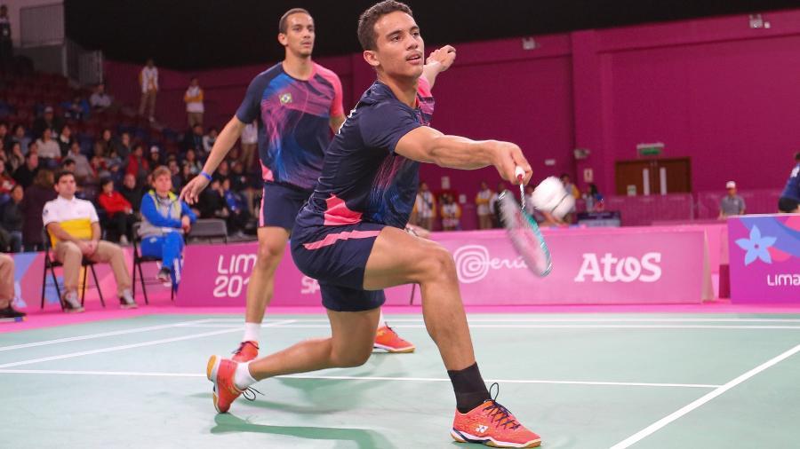 Francielton Farias e Fabrício Farias na competição de duplas masculinas do badminton no Pan - Abelardo Mendes Jr/ rededoesporte.gov.br