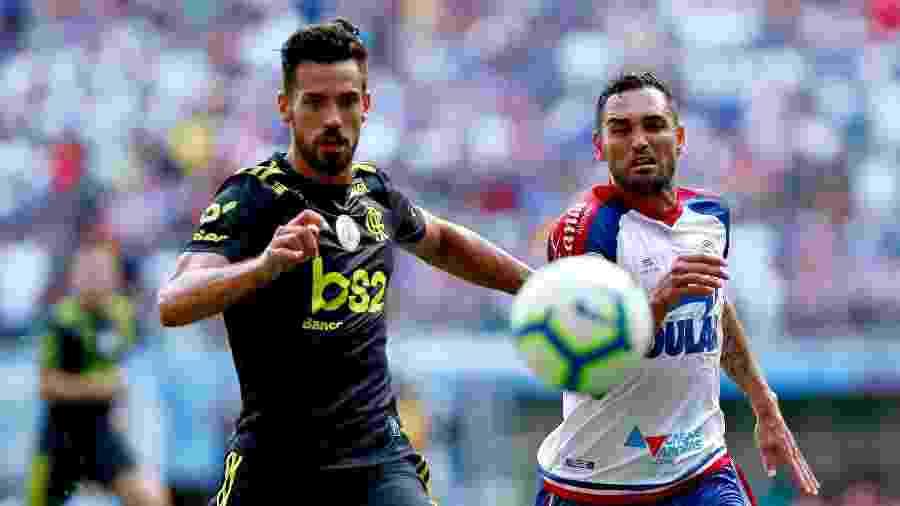 No jogo do turno, Gilberto marcou três vezes pelo Bahia contra o Flamengo - Felipe Oliveira / EC Bahia