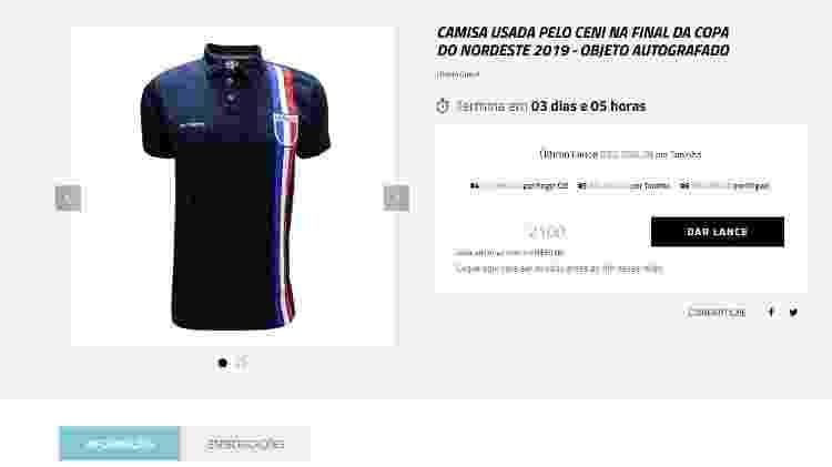 Camisa do Fortaleza usada por Rogério Ceni na final da Copa do Nordeste de 2019 - Reprodução/Ídolos Eternos - Reprodução/Ídolos Eternos