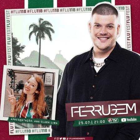 Ferrugem fará show em live de aniversário de 118 anos do Fluminense - Reprodução/Fluminense FC