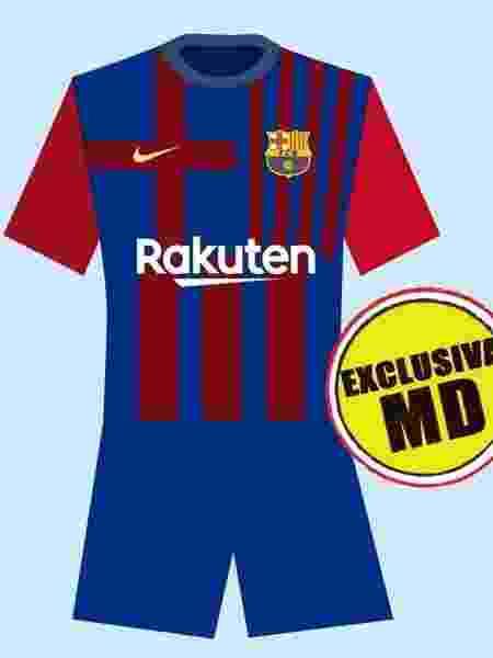 Suposta camisa titular do Barcelona para a temporada 2021-22 - Reprodução/Mundo Deportivo