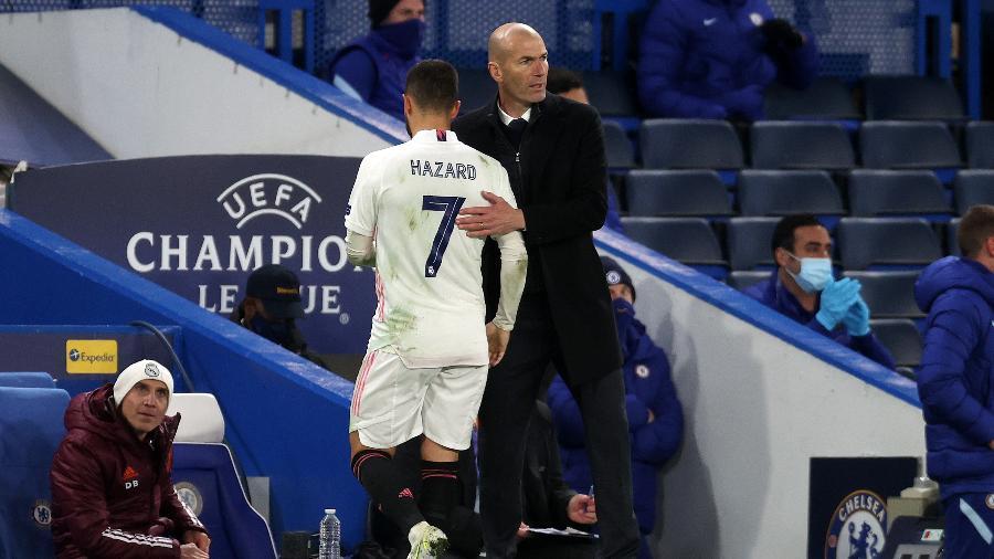Eden Hazard é substituído na partida entre Chelsea e Real Madrid, pela Liga dos Campeões - Getty Images