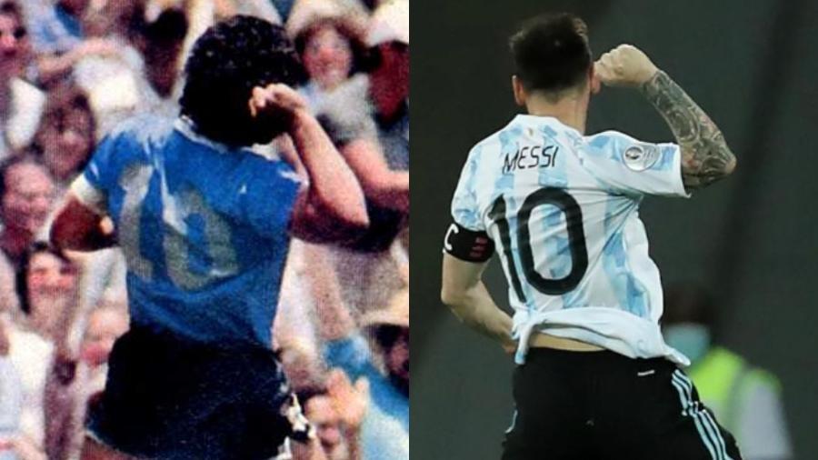 Messi repetiu comemoração de Maradona ao celebrar gol contra o Chile na Copa América 2021 - Reprodução