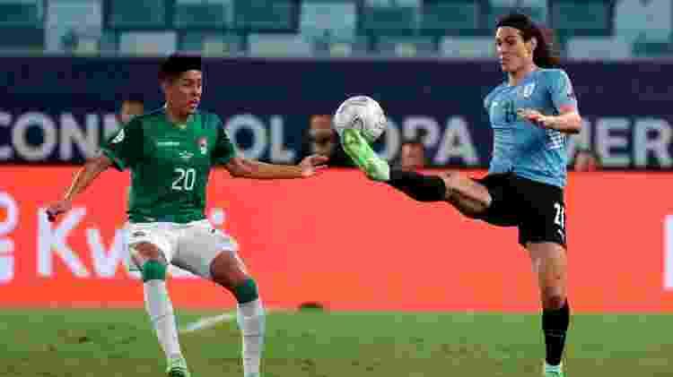 Cavani fez um dos gols da vitória do Uruguai sobre a Bolívia, na Arena Pantanal, pela Copa América - Twitter da Copa América - Twitter da Copa América