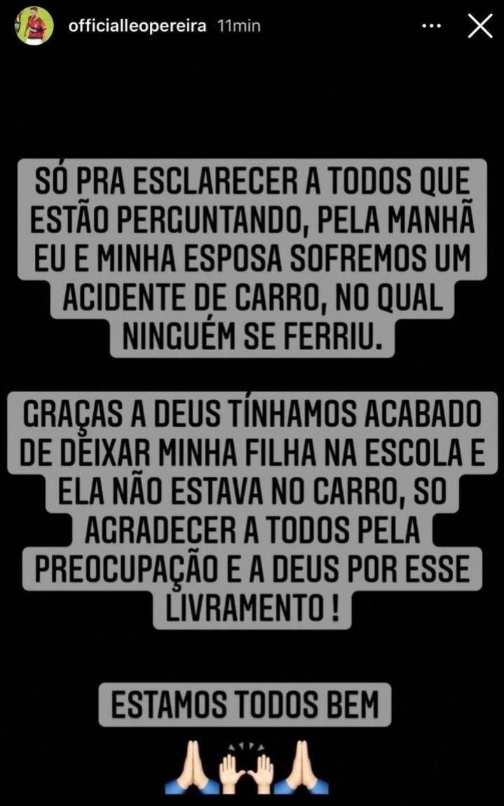 Após acidente de carro, Léo Pereira agradece e fala sobre como está