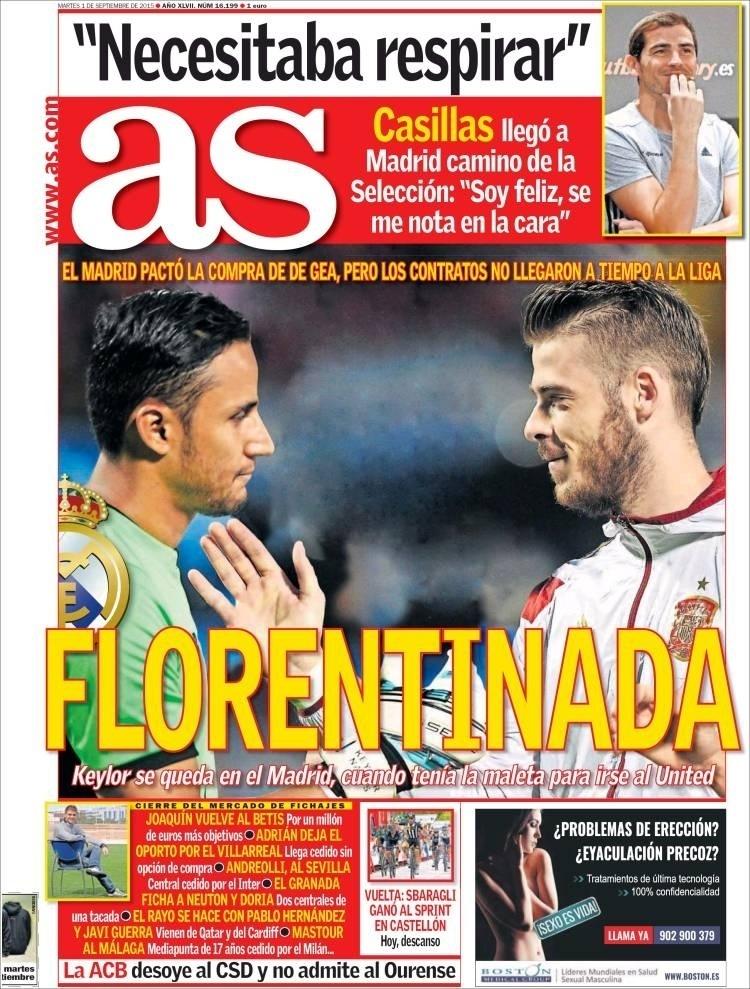 As (Madri, Espanha): 'Florentinada: Real Madrid chegou a um acordo para a compra de De Gea, mas os contratos não chegaram a tempo à Liga Espanhola'