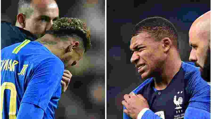 Neymar e Mbappé sentem lesões jogando por suas respectivas seleções - GLYN KIRK/AFP