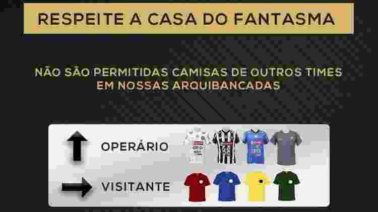 Aviso so Operário-PR sobre camisas de rivais em torcida - Reprodução/Twitter - Reprodução/Twitter