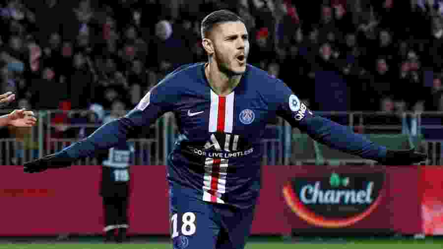 9.nov.2019 - Mauro Icardi comemora gol pelo Paris St Germain - Stephane Mahe/Reuters
