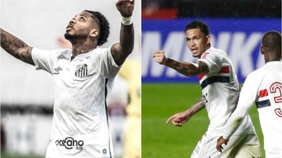 Marinho e Luciano estão alta e irão medir forças em duelo direto hoje na Vila Belmiro - Ivan Storti/Santos FC e Marcello Zambrana/AGIF