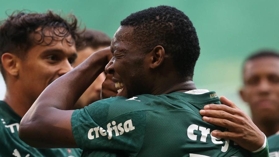 Patrick de Paula comemora ao marcar pelo Palmeiras contra o Athletico-PR - Cesar Greco