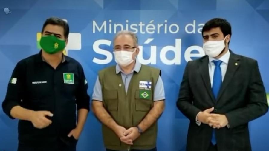 Prefeito de Cuiabá, Emanuel Pinheiro, Ministro da Saúde, Marcelo Queiroga, e Deputado Federal, Emanuelzinho - Reprodução / Instagram