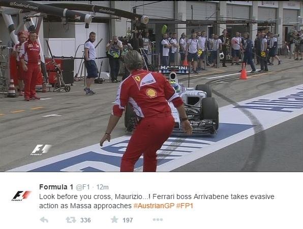 Felipe Massa quase atropela chefe da Ferrari em treino livre na Áustria