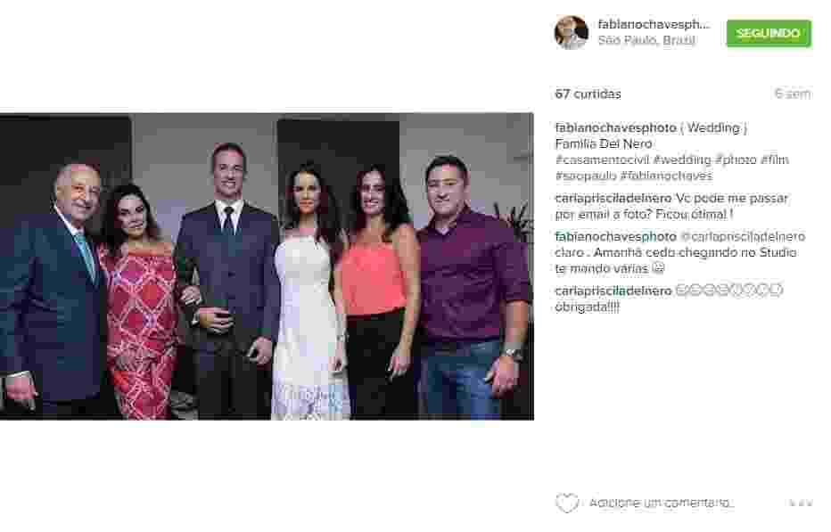 A modelo e a apresentadora de TV Bruna Ramos com o marido, Marco Polo Del Nero Filho, e o sogro Marco Polo Del Nero (à esq.), no casamento dela - Fabiano Chaves/Divulgação/Instagram