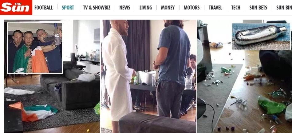 Jornal diz que Conor McGregor e staff quebraram quarto de hotel