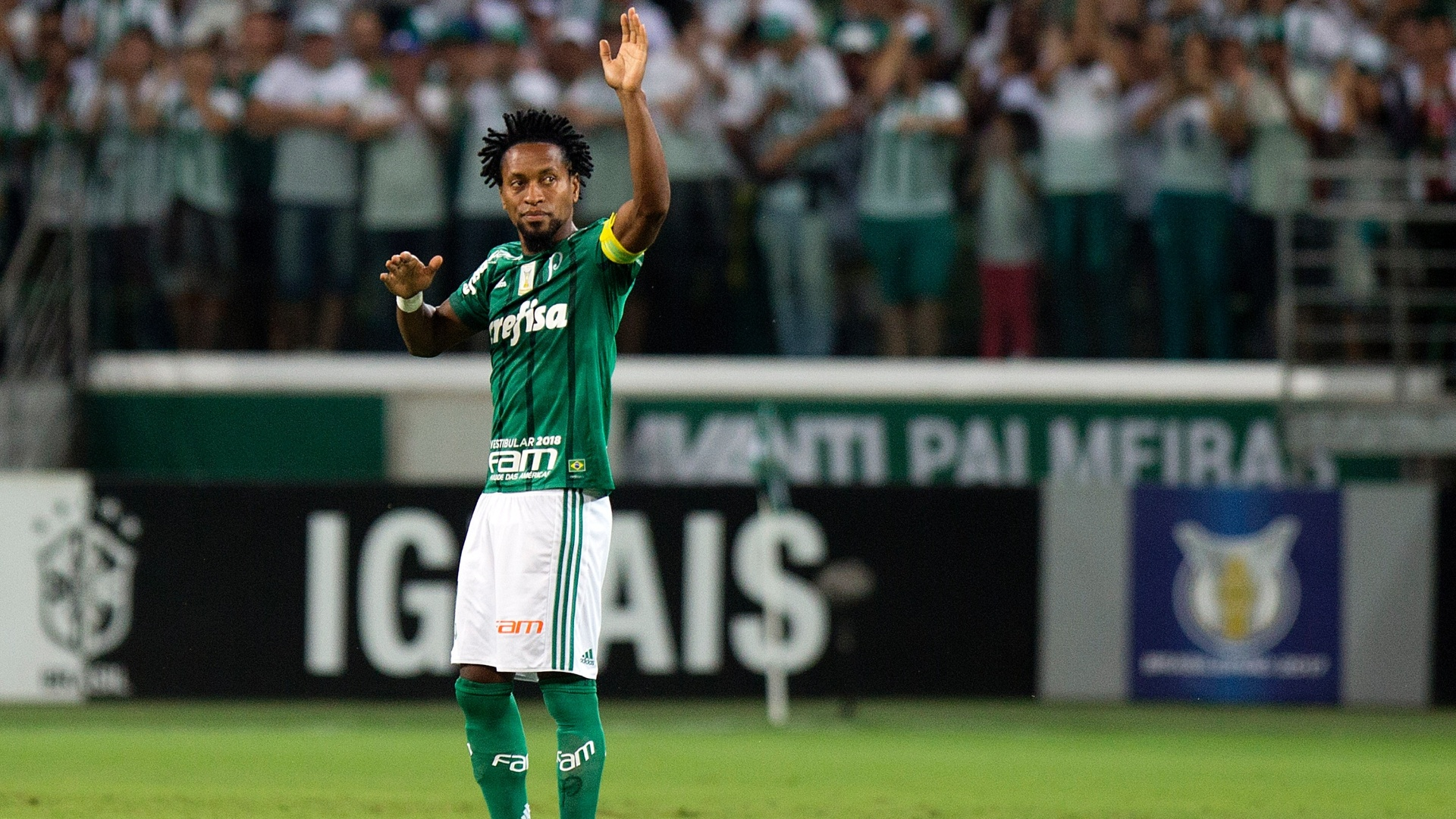 Zé Roberto acena para a torcida antes de Palmeiras x Botafogo, pelo Brasileirão