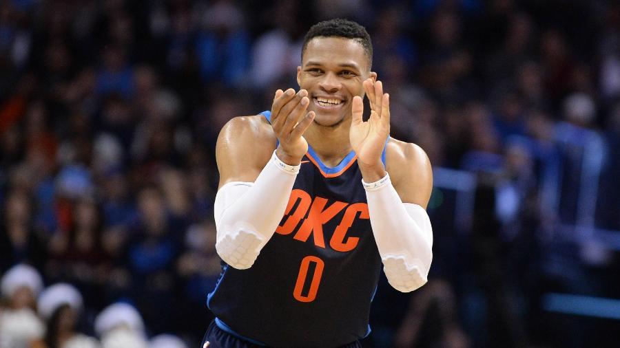 Russell Westbrook durante Oklahoma City Thunder x Houston Rockets - Mark D. Smith/USA TODAY Sports