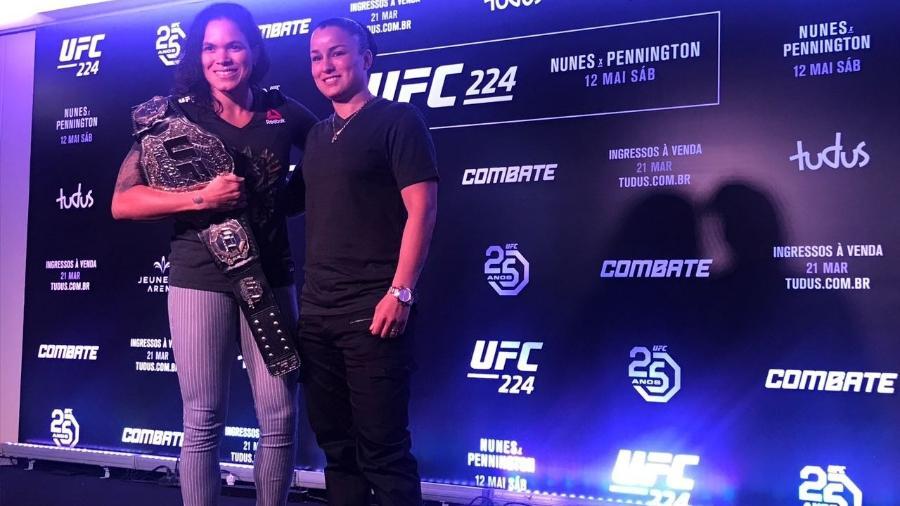 Amanda Nunes e Raquel Pennington em evento promocional para o UFC 224 - Bruno Braz/UOL
