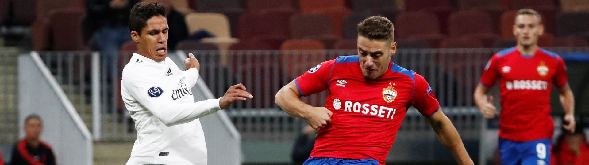 Vlasic chuta e faz gol para o CSKA contra o Real Madrid