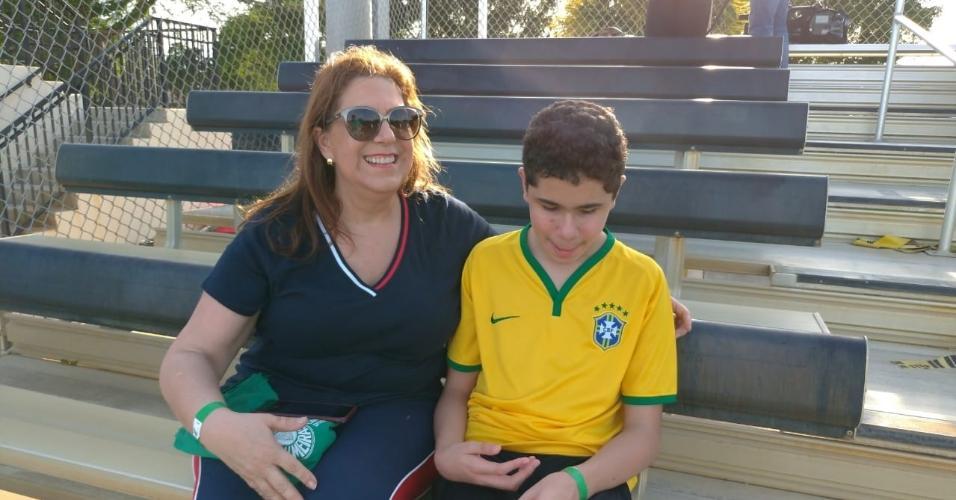 Silvia Grecco e Nickollas no treino da seleção brasileira