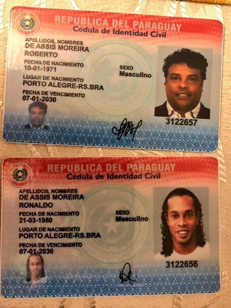 Documentos paraguaios com os nomes de Ronaldinho e Assis, apreendidos hoje (04) - Divulgação/Ministério Público do Paraguai