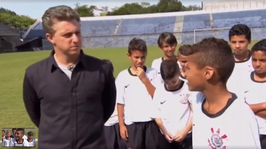 Aos 11 anos, Rodrigo Varanda revelava para Luciano Huck sonho de jogar no profissional do Corinthians - Reprodução/TV Globo