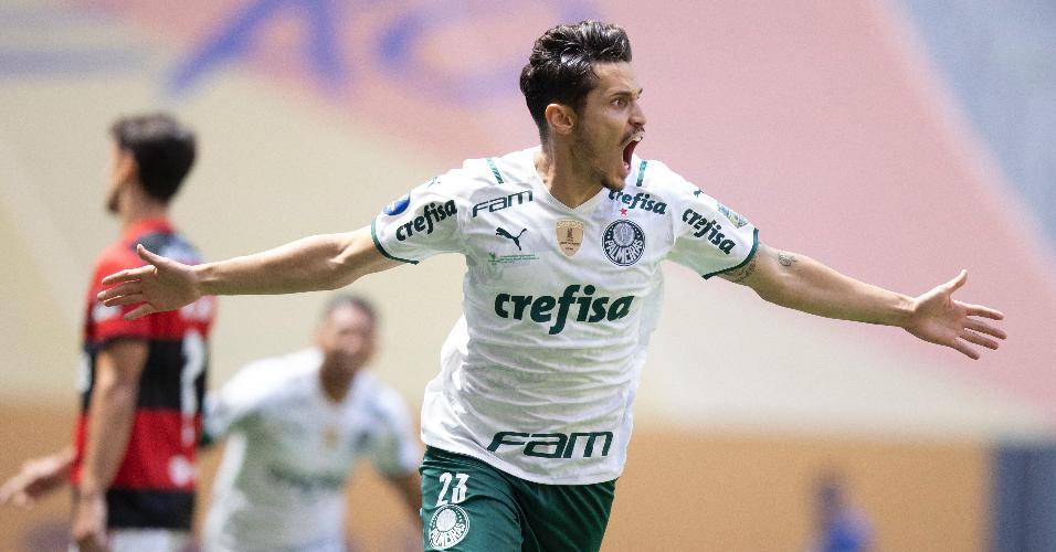 Raphael Veiga comemora gol do Palmeiras contra o Flamengo, pela Supercopa do Brasil