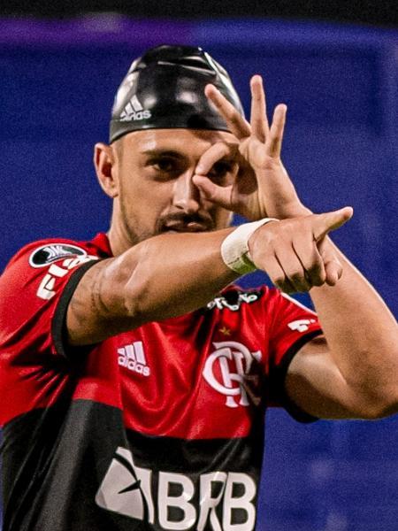 Arrascaeta comemora seu gol pelo Flamengo diante do Vélez - Marcelo Cortes/Flamengo