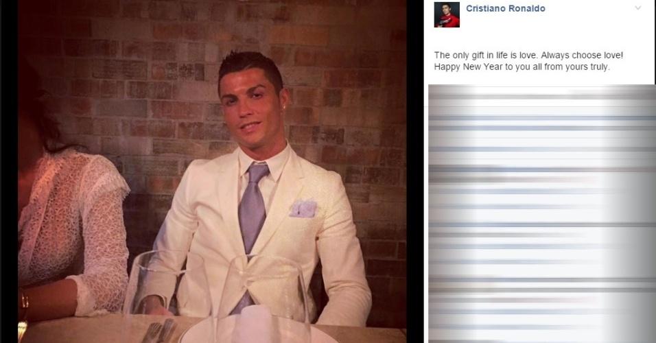 'Escolha sempre o amor', escreve Cristiano Ronaldo em seu Facebook