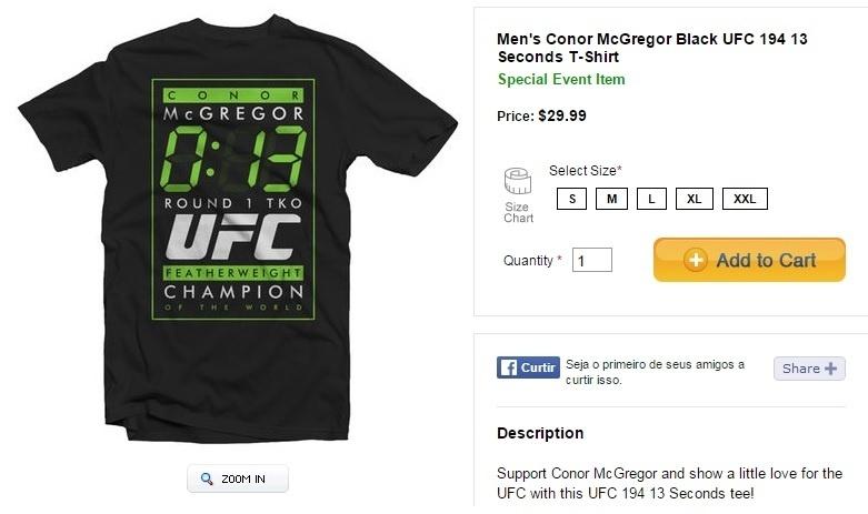 UFC comercializa camisa ironizando nocaute sofrido por José Aldo contra Conor McGregor