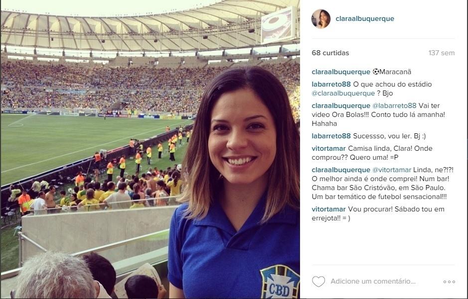 Clara Albuquerque sempre foi apaixonada por futebol. Segundo ela, o gosto foi influência de sua mãe