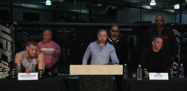 McGregor e Diaz trocaram provocações durante entrevista - Reprodução/Youtube