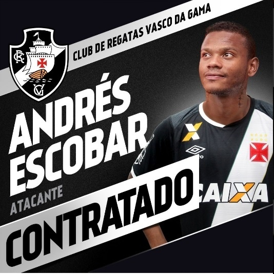 O colombiano Andrés Escobar é mais reforço do Vasco para a temporada 2017