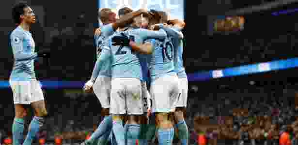 Jogadores do Manchester City festejam gol contra o Newcastle - Darren Staples/Reuters - Darren Staples/Reuters