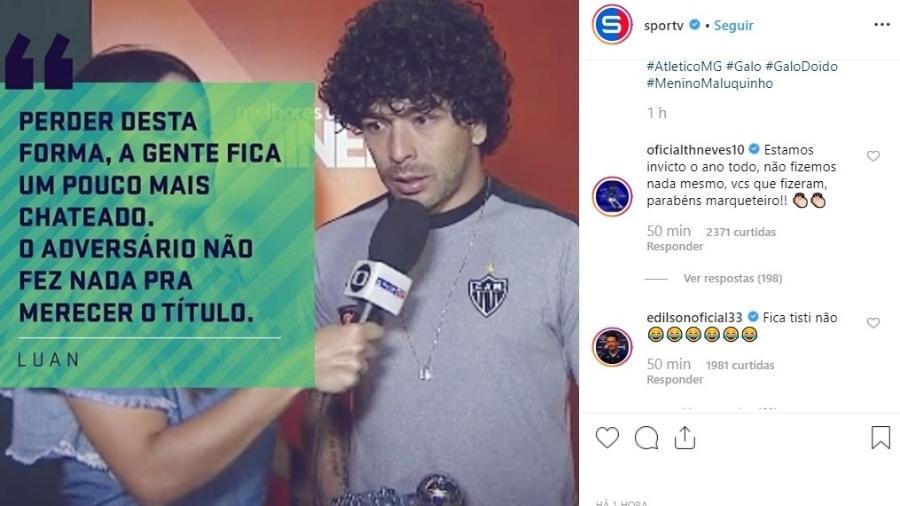 """Jogadores do Cruzeiro """"invadem"""" publicação para zoar Luan, do Atlético-MG - Reprodução/Instagram"""