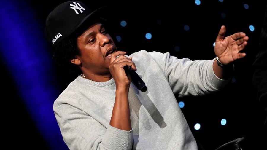 Rapper americano Jay-Z discursa durante evento em Nova York - Mike Segar/Reuters