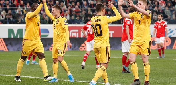 Mais Eurocopa   Bélgica bate Rússia e fatura 1º lugar do grupo das eliminatórias