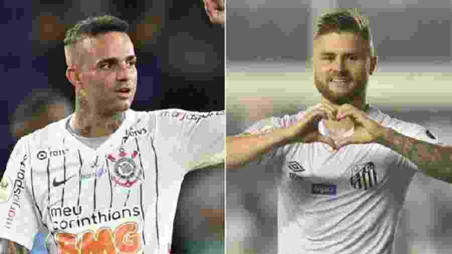Luan e Sasha em ação por Corinthians e Santos, respectivamente - Igor Castro/Divulgação e Ivan Storti/Santos FC