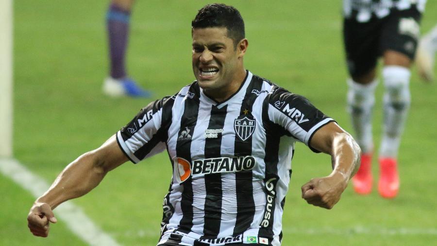 Hulk comemora após marcar gol pelo Atlético-MG no duelo com o Fluminense pela Copa do Brasil 2021, no Mineirão - Fernando Moreno/Fernando Moreno/AGIF