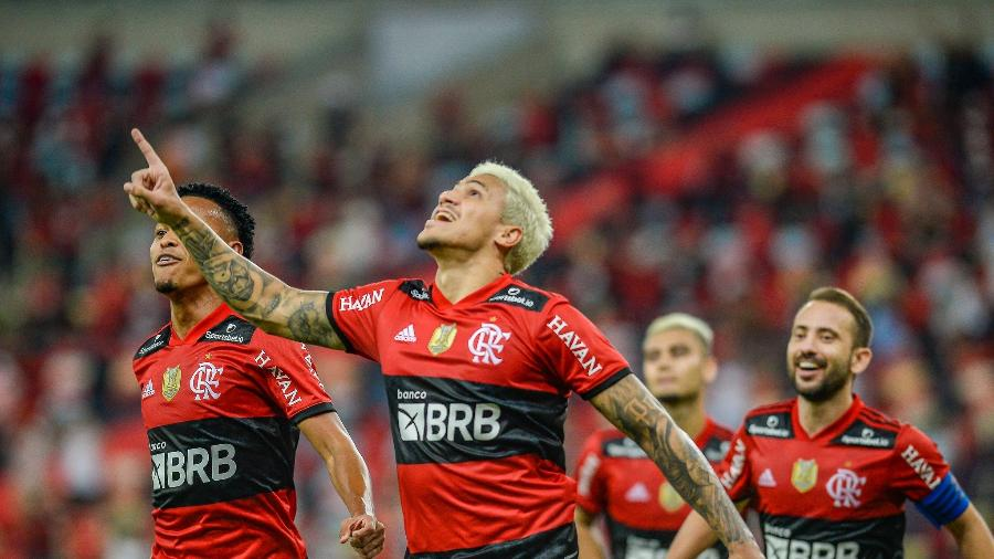 Pedro comemora gol de pênalti marcado na partida entre Flamengo e Grêmio - Marcelo Cortes/Flamengo