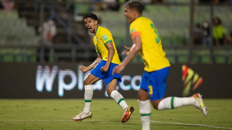 Marquinhos comemora gol do Brasil contra a Venezuela pelas Eliminatórias - Lucas Figueiredo/CBF - Lucas Figueiredo/CBF