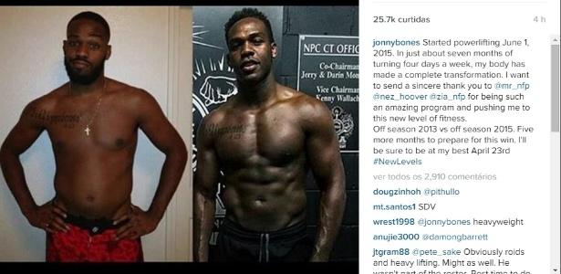 Jon Jones postou montagem mostrando a sua diferença física após intensificar treinamento - Reprodução/Instagram