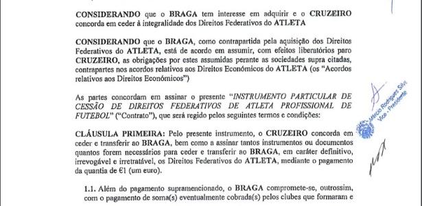 Direitos federativos de Wallace custaram 1 euro ao Braga, que nem utilizou o jogador - Football Leaks/Reprodução