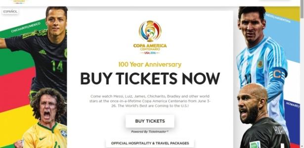 Site da Copa América, agora, usa David Luiz como representante do Brasil - Reprodução