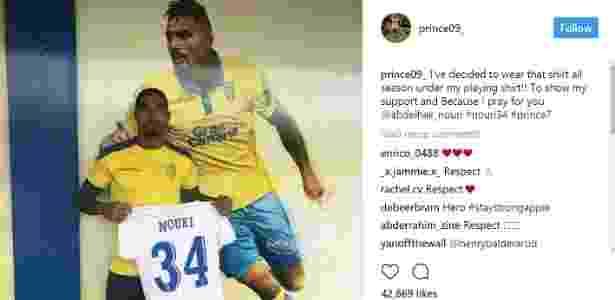 Boateng anunciou que nesta temporada vai usar uma camisa em homenagem a Nouri, jogador que sofreu infarto e ficou com danos cerebrais - Reprodução Instragram
