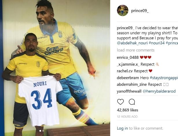 Boateng anunciou que nesta temporada vai usar uma camisa em homenagem a Nouri, jogador que sofreu infarto e ficou com danos cerebrais