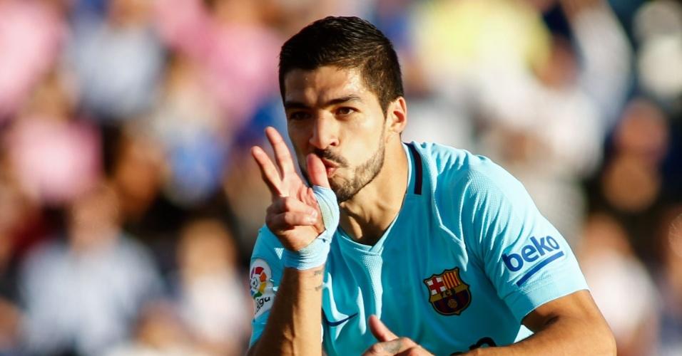 Suárez comemora gol do Barcelona contra Leganés